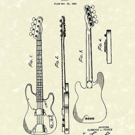 Fender Bass Guitar 1953 Patent Art  by Prior Art Design