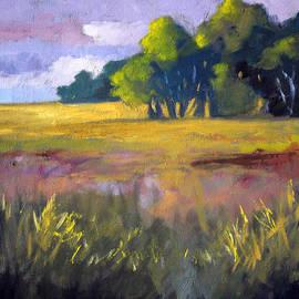 Field Grass Landscape Painting by Nancy Merkle