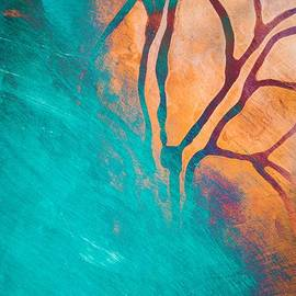 Priya Ghose - Fire And Ice Abstract Tree Art Teal
