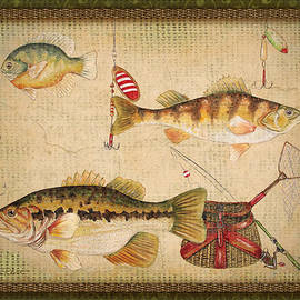 Fish Trio-A-GreenBorder by Jean Plout