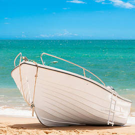 Amanda Elwell - Fishing Boat On The Beach Algarve Portugal