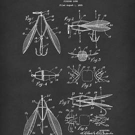 Fishing Lure 1926 Patent Art Black by Prior Art Design