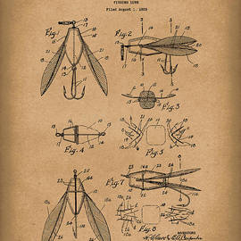 Fishing Lure 1926 Patent Art Brown by Prior Art Design