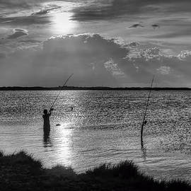 Fishing with Dad - Black and White - Merritt Island by Nikolyn McDonald