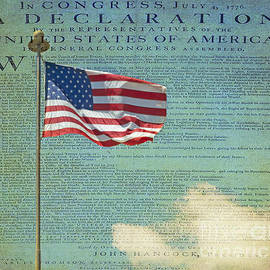 Flag - Declaration of Independence -  Luther Fine Art by Luther Fine Art