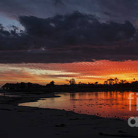 Jerry Cowart - Flaming Red Sunset Over Malibu Beach Lagoon Estuary Fine Art Photograph Print