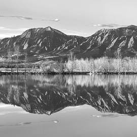 Flatirons Reflections Light  Boulder Colorado Black and White Panorama by James BO Insogna