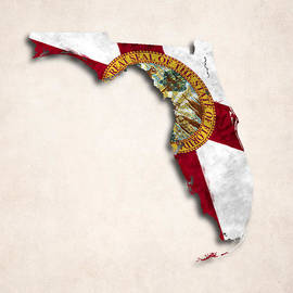 World Art Prints And Designs - Florida Map Art with Flag Design
