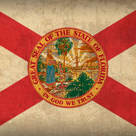 Florida State Flag Art on Worn Canvas by Design Turnpike