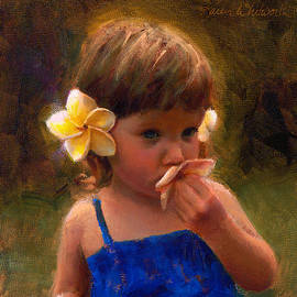 Flower Girl - Tropical Portrait with Plumeria Flowers by K Whitworth