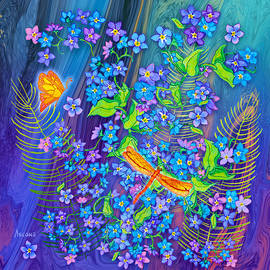 Forget Me Nots with Ferns by Teresa Ascone