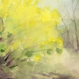 Forsythia In Central Park Watercolor Landscape Painting by Beverly Brown