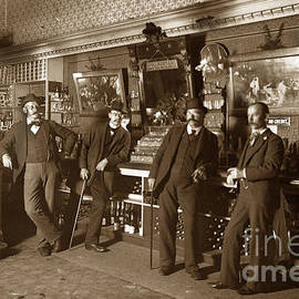 Five men in a saloon circa 1895 by California Views Archives Mr Pat Hathaway Archives