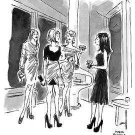 Four Women Hold Cocktails And Are Similarly by Marisa Acocella Marchetto