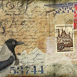French Bird Postcard by Carol Leigh
