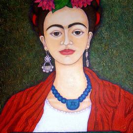 Frida portrait with dahlias by Madalena Lobao-Tello