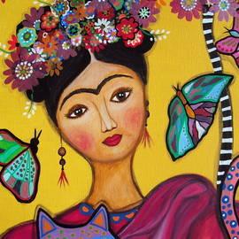 Frida Kahlo and her Cat by Pristine Cartera Turkus