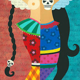 Frida Kahlo Mermaid Angel with Flaming Heart by LuLu Mypinkturtle