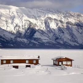 Frozen Snow Winter Docks - Lake Minnewanka, Banff National Park, Alberta, Canada by Ian Mcadie