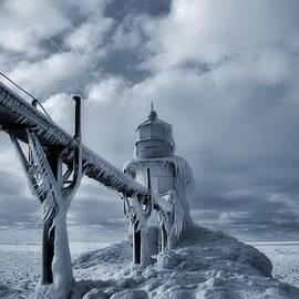 Dan Sproul - Frozen Lighthouse In Saint Joseph Michigan