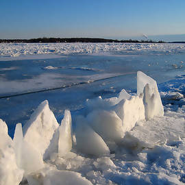 Frozen St. Clair River with homemade ice fort by Mary Bedy