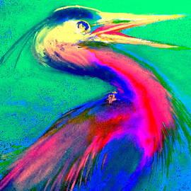 Funky GBH Great Blue Heron Bird Art Prints by Sue Jacobi
