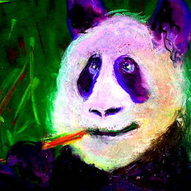 Funky Giant Panda Bamboo Dinner Art Print by Sue Jacobi