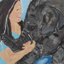 Girl And Baby Elephant by Shelley Jones