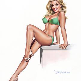 Girl In Green Bikini by Dick Bobnick