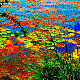 Glorious Water Lilies Banks Of The Lachine Canal Montreal Summer  Scenes Art Carole Spandau by Carole Spandau
