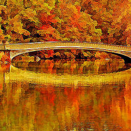 Golden Central Park Bow Bridge in Fall by Geraldine Scull