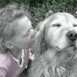 Golden Retriever Dog Kiss from a Little Girl by Jennie Marie Schell