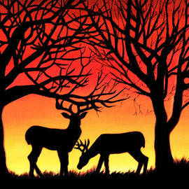Alison Newth - Grazing Deer at Sunset