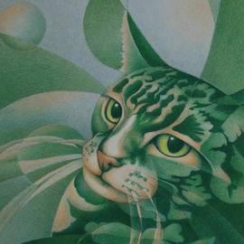 Green Feline Geometry by Pamela Clements