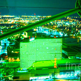 Green Neon From Reunion Tower Dallas  by Pamela Smale Williams