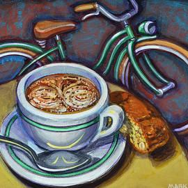 Mark Jones - Green Schwinn bicycle with cappuccino and biscotti.