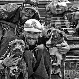 Kathleen K Parker - Guys Dogs Bench in Jackson Square - bw