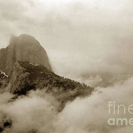 Half Dome in the Clouds and Clouds Rest from Glacier Point trail California circa 1910 by California Views Archives Mr Pat Hathaway Archives