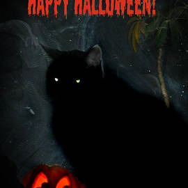 Happy Halloween Black Cat by Michelle Frizzell-Thompson