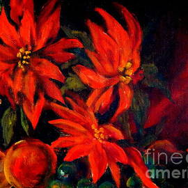 Red Poinsettia Oil Painting