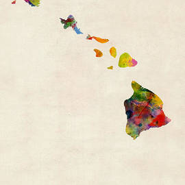 Hawaii Watercolor Map by Michael Tompsett
