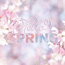 Hello Spring Sakura Cherry Blossoms Watercolor Background