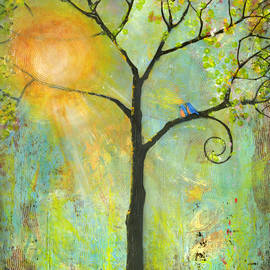 Hello Sunshine Tree Birds Sun Art Print by Blenda Tyvoll