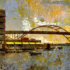 Hoan Bridge And Abstract Painting by Anita Burgermeister