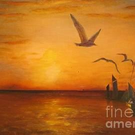 Hudson River Sunset  by Anthony Morretta