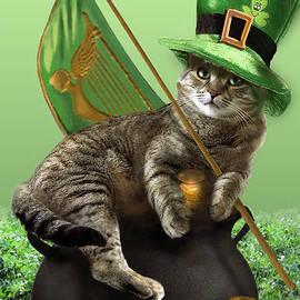 St. Patrick's day Irish cat sitting on a pot of gold by Regina Femrite