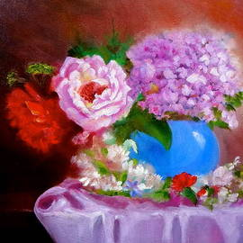 Jenny Lee - Hydrangeas and a Pink Rose