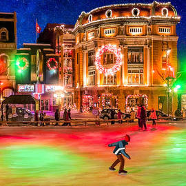 Ice Skating On A Beautiful Night In Quebec by Mark Tisdale