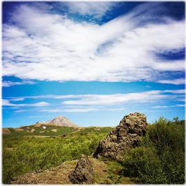 Iceland landscape and blue sky