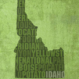 Idaho State Word Art Map on Canvas by Design Turnpike